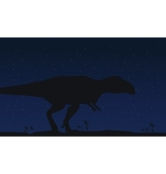 Silhouette of mapusaurus at night collection vector