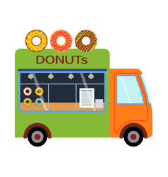 Street food festival donuts trailer vector
