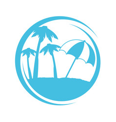 Summer beach silhouette icon vector