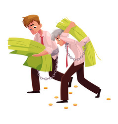 Two men young and old carrying huge bundle of vector
