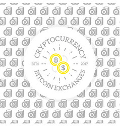 unique digital money and bitcoin logo on seamless vector image vector image