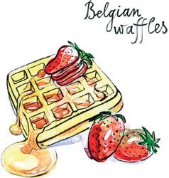 watercolor belgian waffles vector image vector image