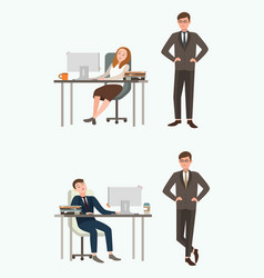 people man and woman office workers sleep at work vector image