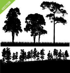 Tree and forest silhouette vector image