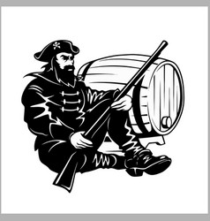 Pirate with a gun and barrel vector
