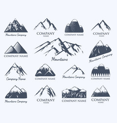mountain badge travel hill outdoor mountaineering vector image