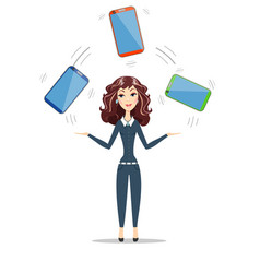 Abstract businesswoman holding electronic gadget vector