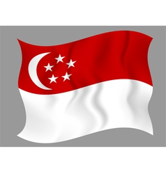 Flag of singapore waving on a gray background vector