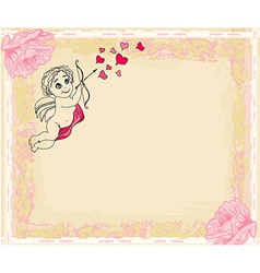 Happy valentines day card with cupids vector