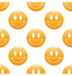 Wide smiling emoticon pattern vector