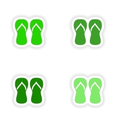 Assembly realistic sticker design on paper thongs vector