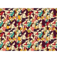 Sport run crowd people marathon seamless pattern vector
