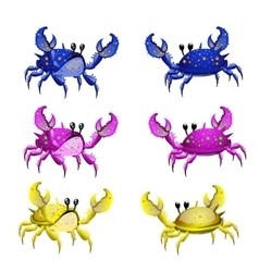 Set of three colorful crab isolated from two sides vector