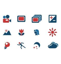 Modes of photo silhouette icons vector