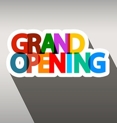 Grand opening colorful paper title vector
