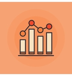 Growing graph flat icon vector
