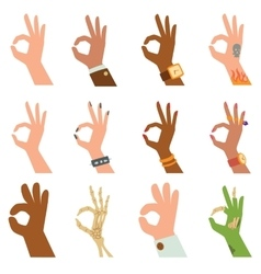 Silhouette hands showing symbol of all ok finger vector