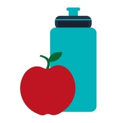 Sports water bottle and apple vector