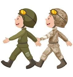 Two soldiers in uniform marching vector image