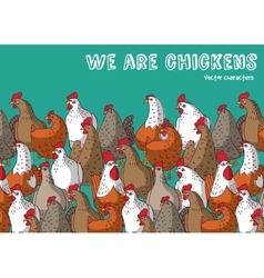 Birds chicken farm animals big group color and sky vector