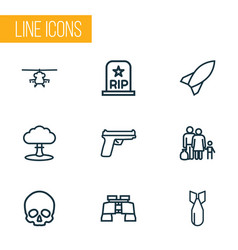 army outline icons set collection of fugitive vector image
