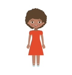 Brunette girl with dress and curly hair vector
