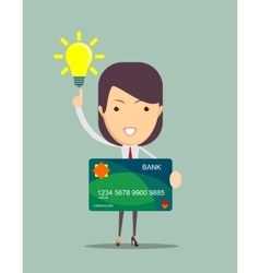 Business woman keeps new credit card vector