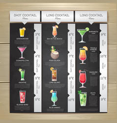 chalk drawing flat cocktail menu design vector image vector image