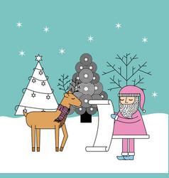 christmas santa check list gifts reindeer and tree vector image