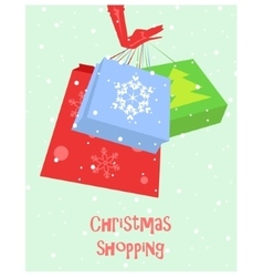 Christmas shopping card vector