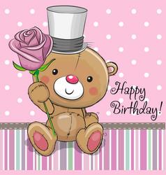 cute teddy bear with a flower vector image