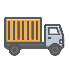delivery truck filled outline icon transport vector image