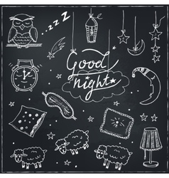 Doodle set of images about good night vector image