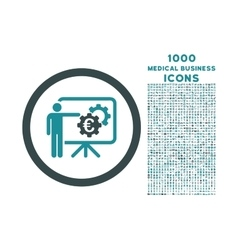 Euro Business Project Presentation Rounded Icon vector image