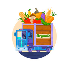 fast delivery of fresh vegetables the car with vector image