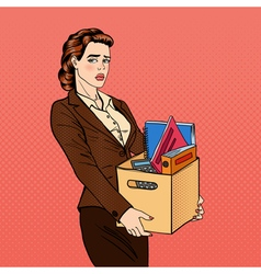 Fired woman disappointed businesswoman pop art vector