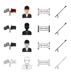 Flags at the races a jockey in uniform a barrier vector