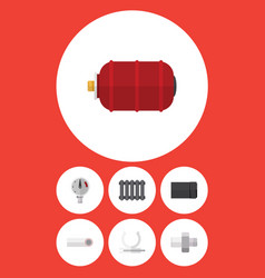 flat icon industry set of container heater tube vector image