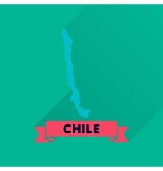Flat icon with long shadow chile map vector