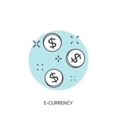 Flat lined coins icon E-currency concept vector image vector image
