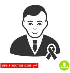 Gentleman With Mourning Ribbon EPS Icon vector image vector image