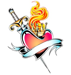 gothic heart tattoo vector image vector image