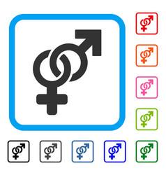 heterosexual symbol framed icon vector image