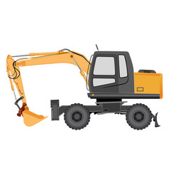 image of a yellow excavator on a wheeled chassis vector image vector image
