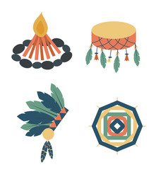 indians icon temple ornament and element retro vector image vector image