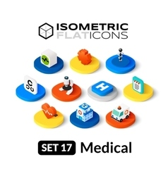 Isometric flat icons set 17 vector