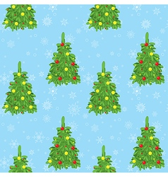Light blue background with new year trees and snow vector