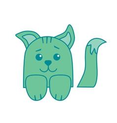 little green colored cartoon kitten vector image