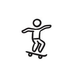 Man riding on skateboard sketch ico vector