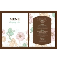 menu template design with vintage floral vector image vector image
